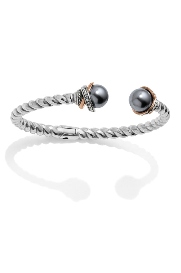 Neptune's Rings Open Hinged Bangle | Grey Pearl
