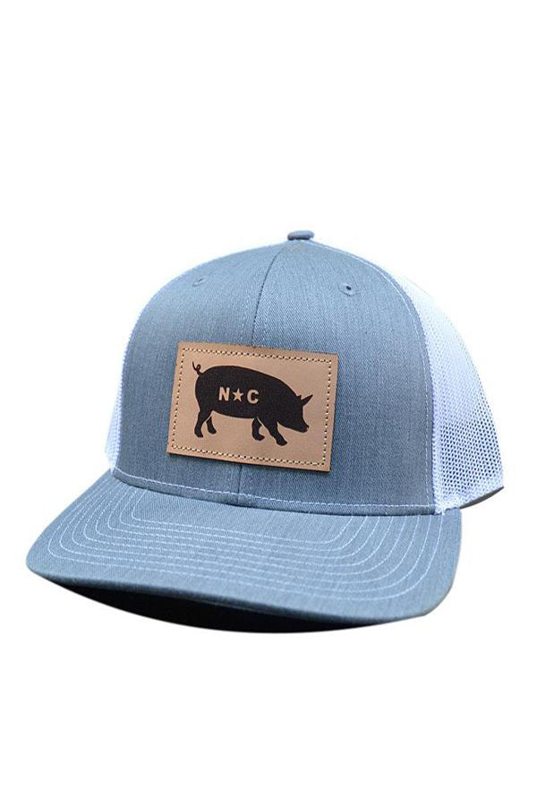 NC Pig Leather Patch Hat | Heather Grey and White