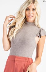 High Collar Ruffle Sleeve Bodysuit | Grey