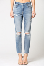 Zoey Distressed Super Soft Mom Jeans