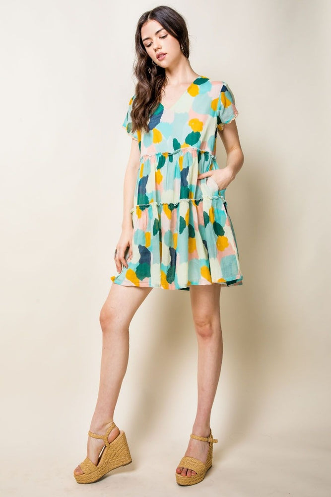Short Sleeve Printed V-Neck Dress