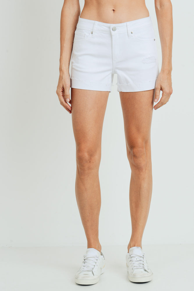 Mid Rise Short with Cuff | White