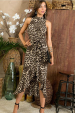 Mock Neck Leopard Maxi Dress