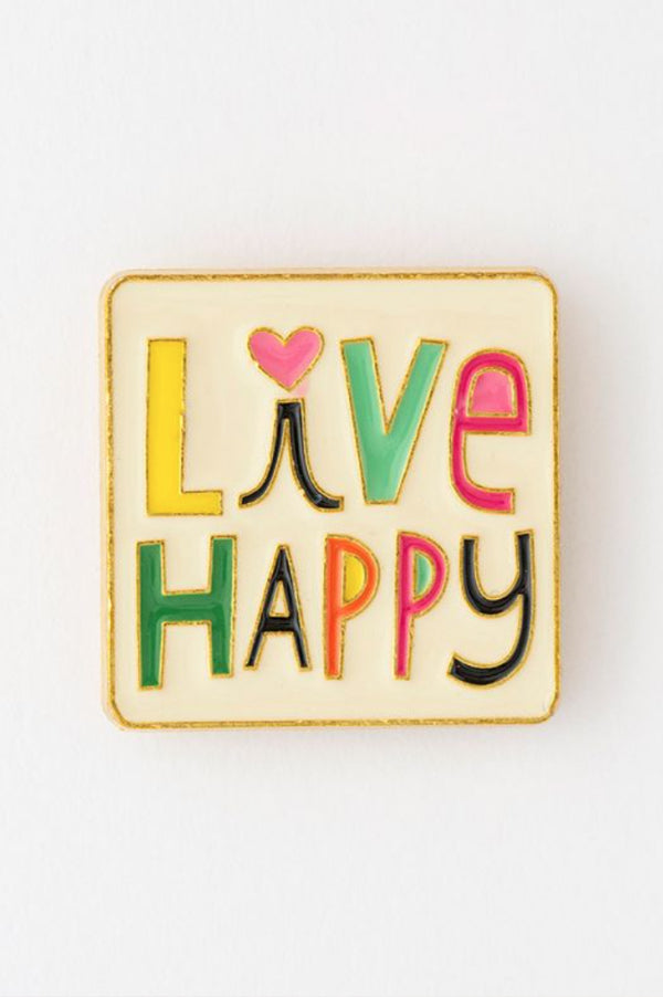 Enamel Pin Greeting Card | Live Happy
