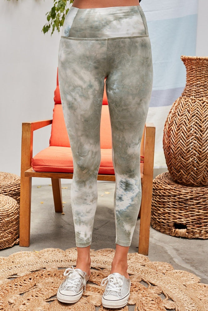 High Waistband Tie Dye Print Leggings | Olive