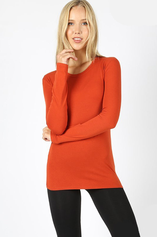 Long Sleeve Slim Fit Basic Top | Copper