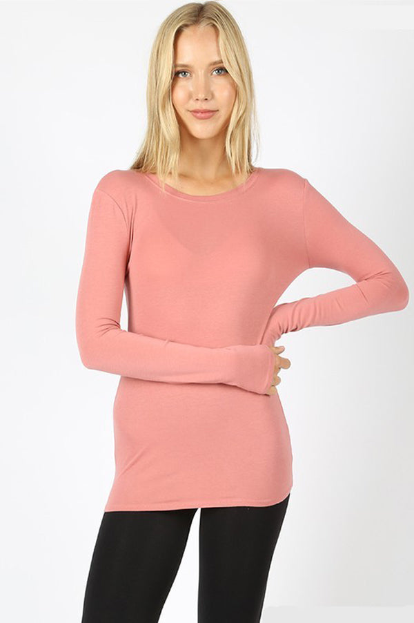 Long Sleeve Slim Fit Basic Top | Dusty Rose