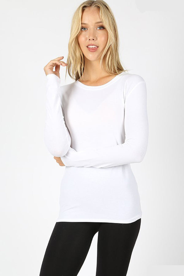 Long Sleeve Slim Fit Basic Top | White