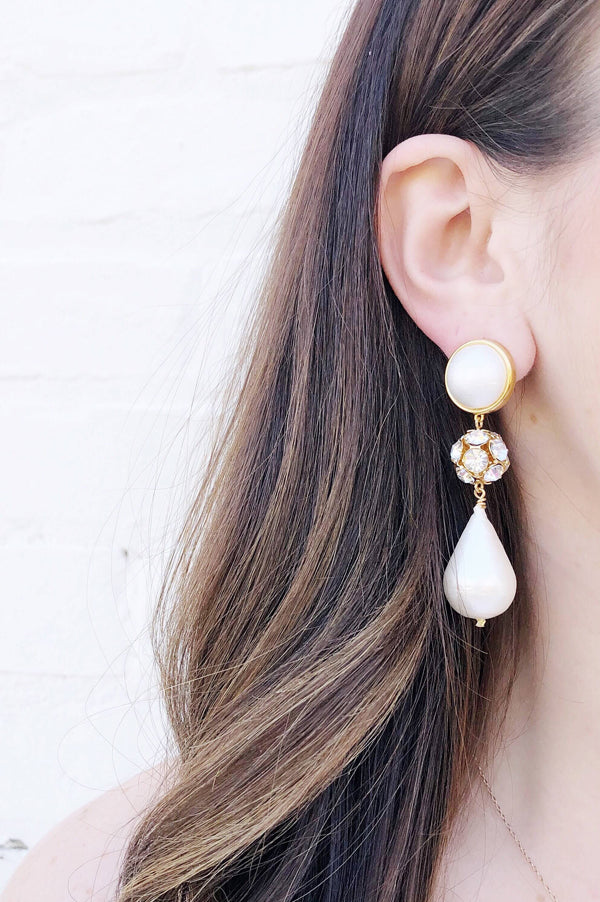 Luna Rhinestone Teardrop Earrings | Gold