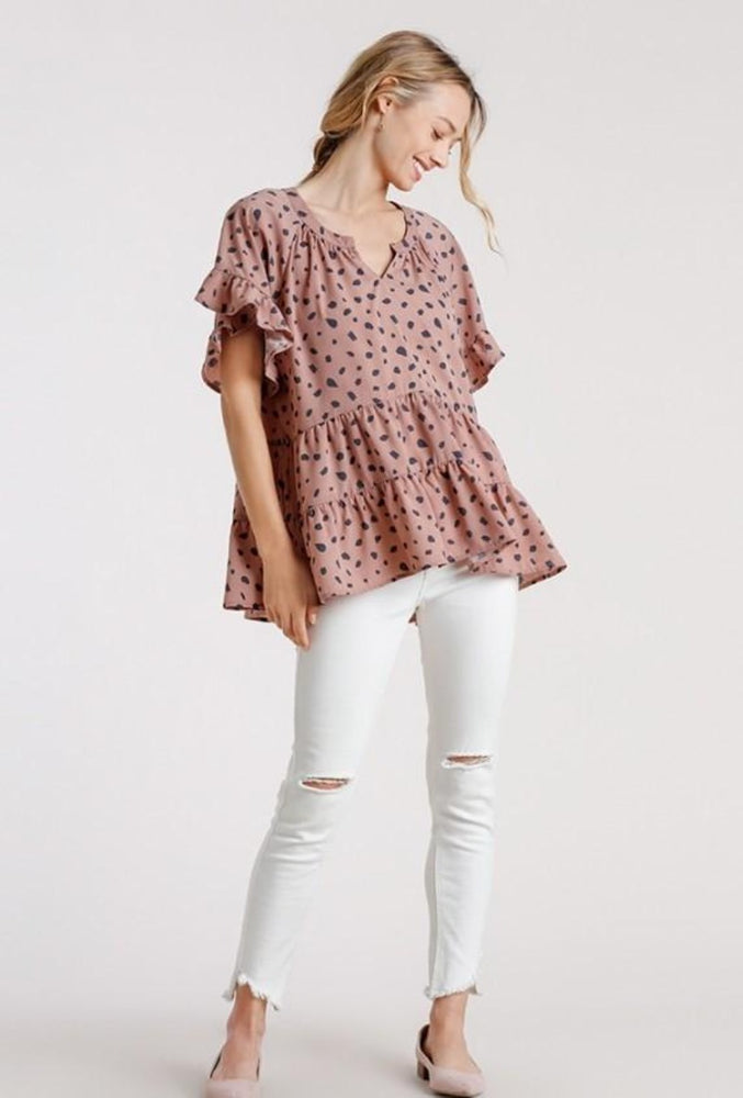 Dalmatian Short Ruffle Sleeve Tiered Top