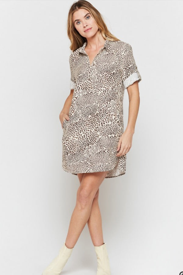 Macey Short Sleeve Shirt Dress | Leopard