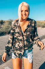 Mandy Button Down Top | Camo
