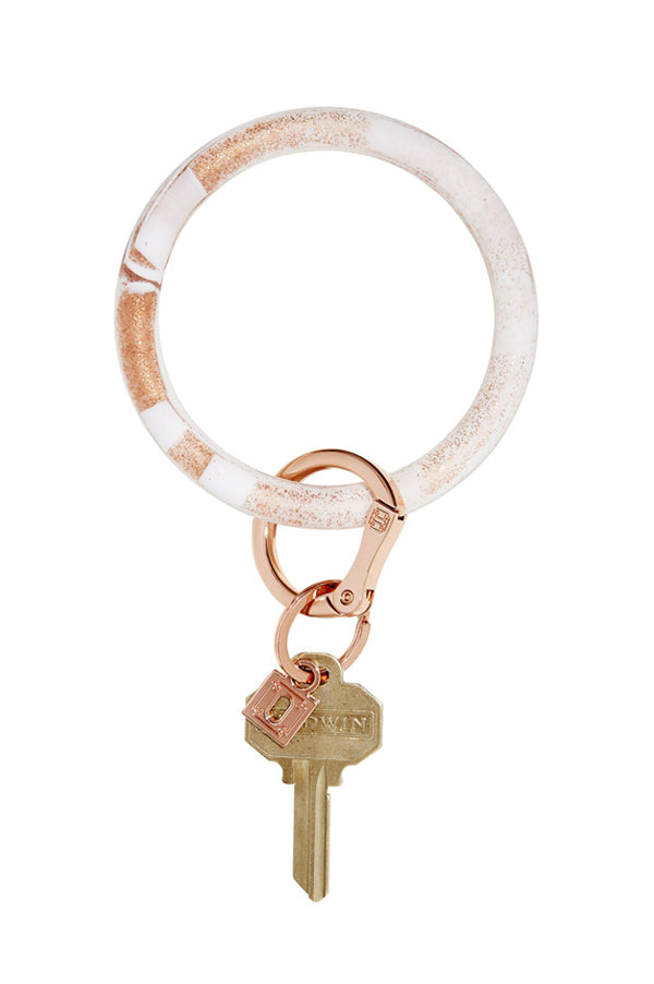 Marble Silicone Big O Key Ring Rose Gold