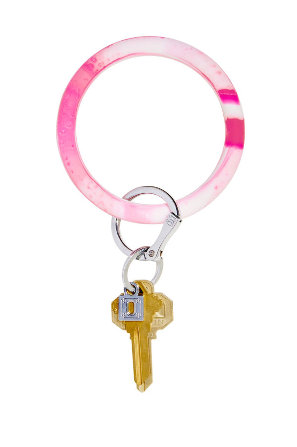 Marble Silicone Big O Key Ring Tickled Pink