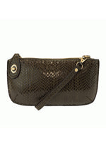 Mini Crossbody Wristlet Clutch | Olive Python