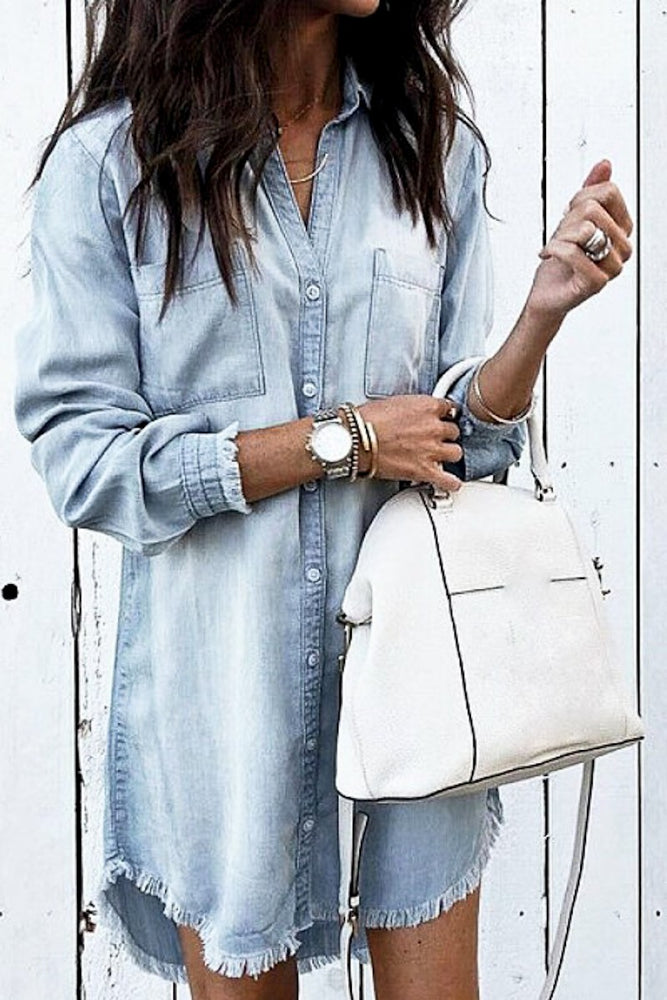 Distressed Button Down Denim Shirt Dress