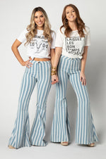 Moonshine Bell Bottoms | Blue Stripe