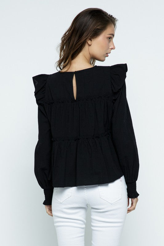 Long Sleeve Ruffle Top | Black