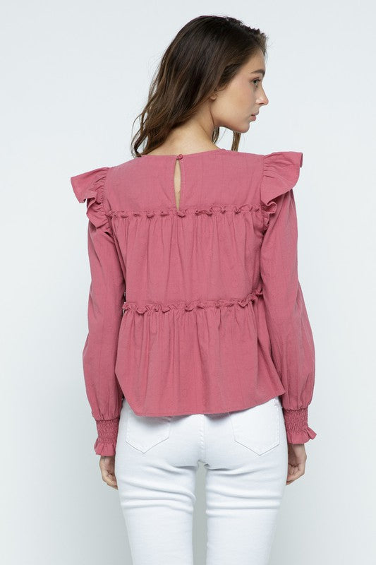 Long Sleeve Ruffle Top | Holly Berry