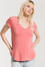 Mya V-Neck Tee | Slate Rose