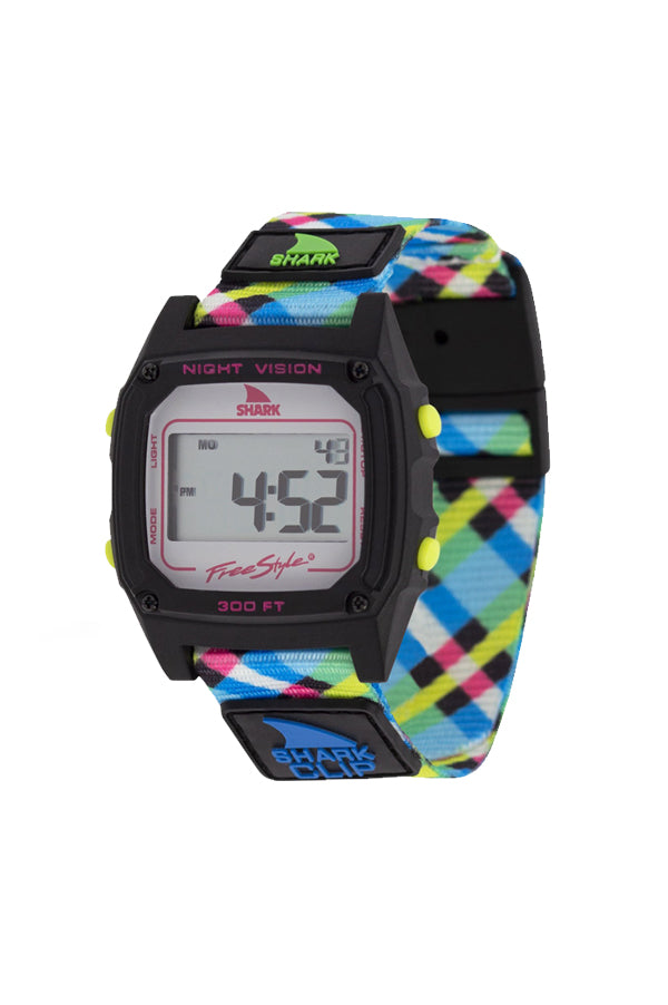 Classic Clip Shark Watch | Neon Plaid