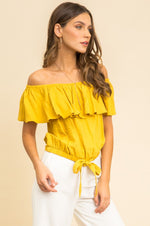Off The Shoulder Ruffled Crop Top | Mustard