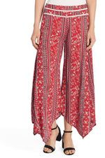 Printed Pants with Crochet Trim