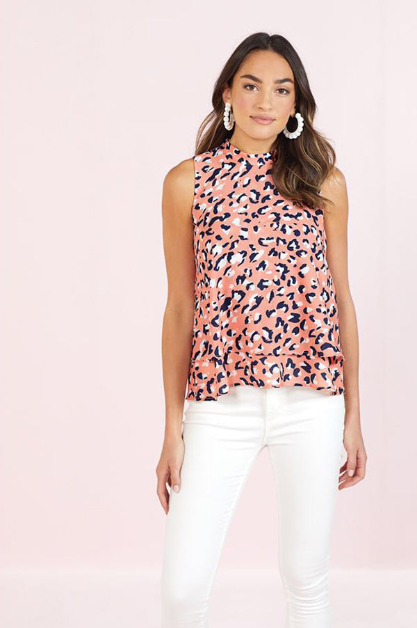 Eleanor Tiered Top | Peach Leopard