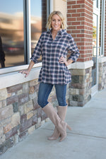 Long Sleeve Plaid Shirt With Ruffle Hem