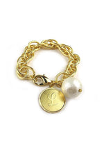 Preston Initial Charm Bracelet | Gold Cotton Pearl