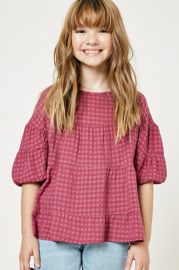 Kids Plaid Puff Sleeve Top | Plum