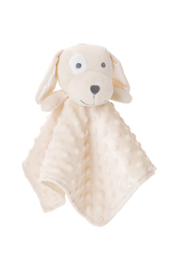 Minky Dot Tan Puppy Baby Security Blanket
