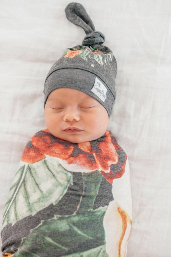 Newborn Top Knot Hat | Raven