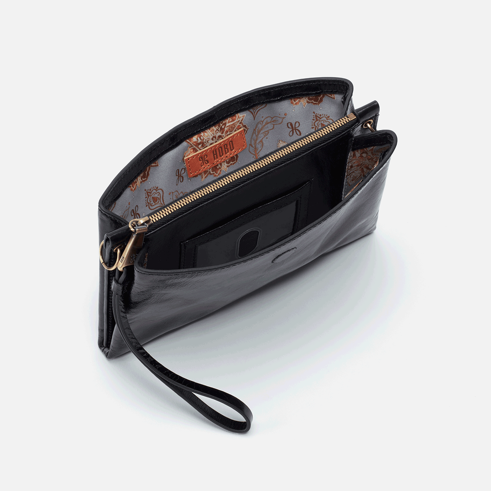Reveal Leather Crossbody Wristlet | Black
