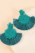 Seed Bead Fan Earrings | Teal