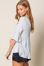 V Neck Ruffle Sleeve Top