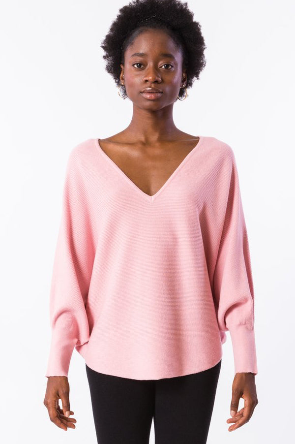 Ryu V Neck Top | Dusty Pink