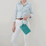 Sable Leather Wristlet | Seafoam
