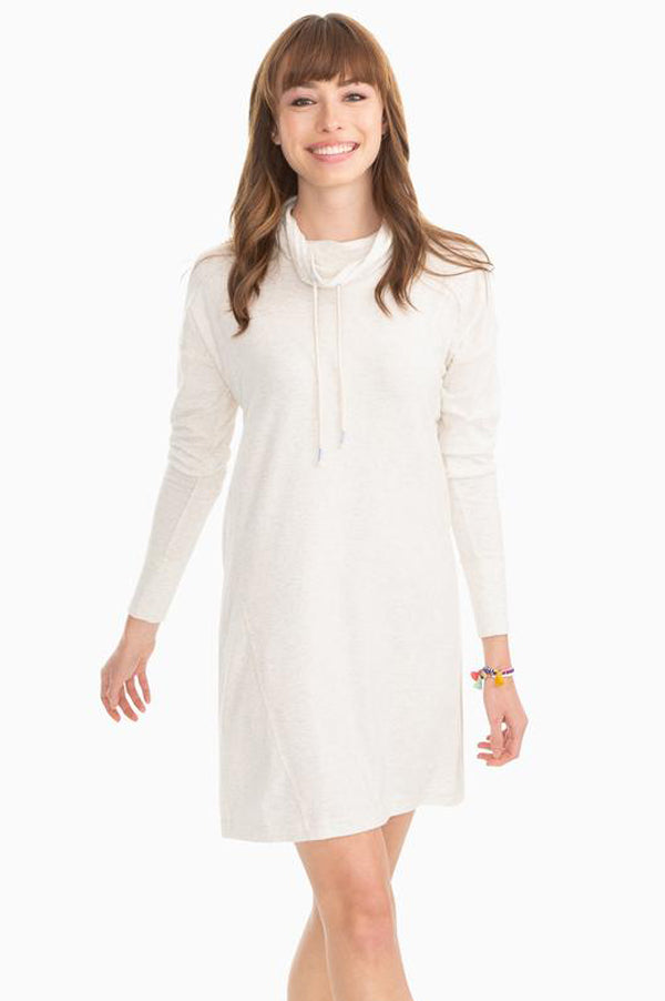 Scuba Funnel Neck Pullover Dress | Heather Oatmeal