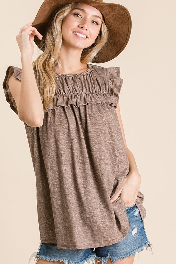 Shirring Detail Top | Mocha