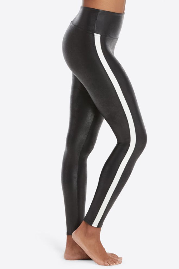 Faux Leather Side Stripe Leggings