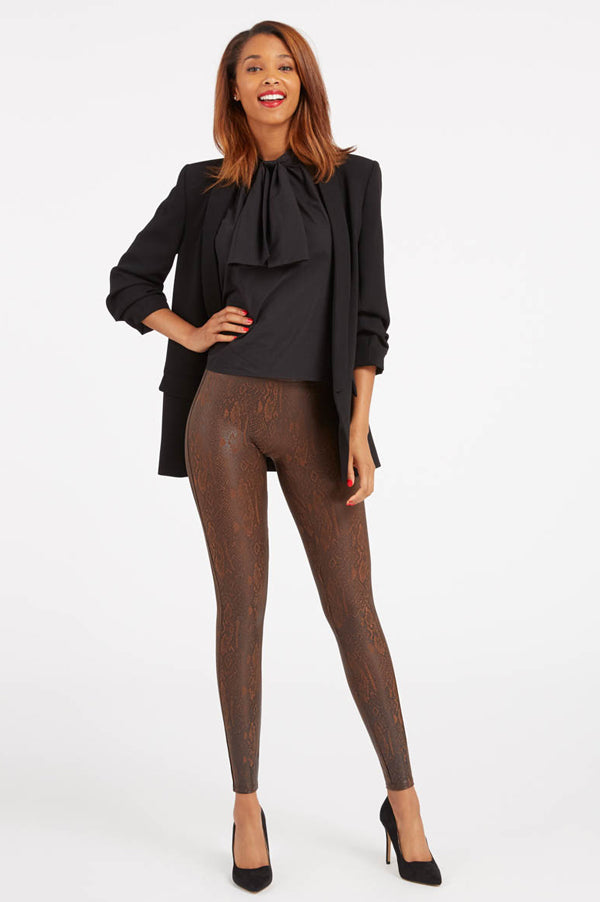 Faux Leather Snakeskin Leggings | Brown