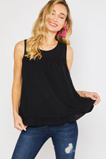 Split Back Ruffle Tank | Black