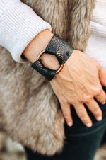 Metallic Leather Wide Cuff | Blue Bronze Starbust