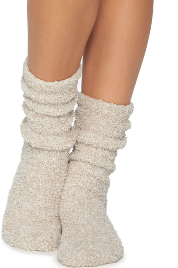 Cozy Chic Heathered Socks | Stone and White