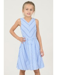 Girls Striped Print Dress | Blue