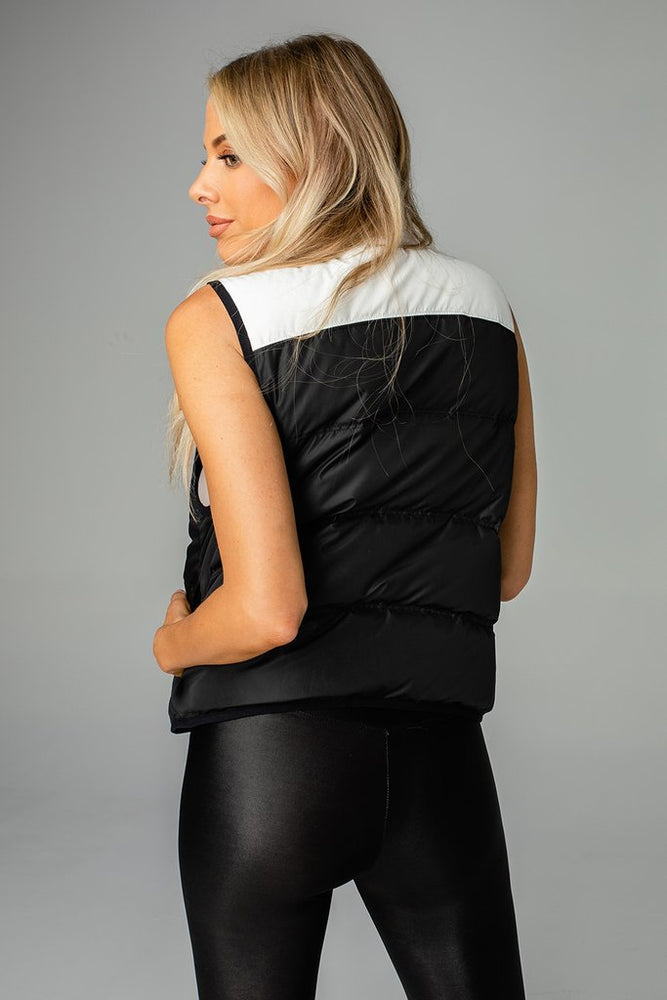 Tanya Two Tone Puffer Vest | Black & White