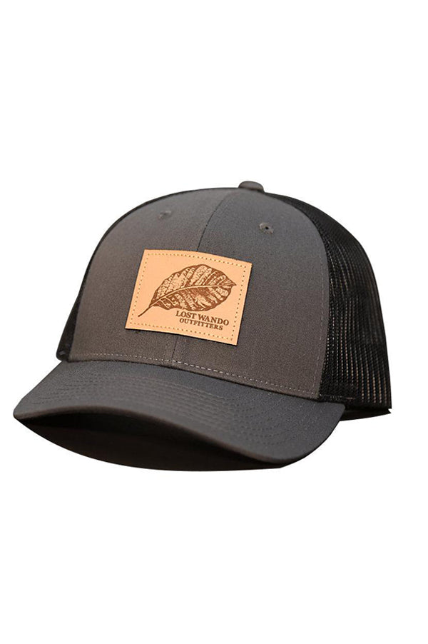 Tobacco Leaf Leather Patch Hat | Black and Charcoal