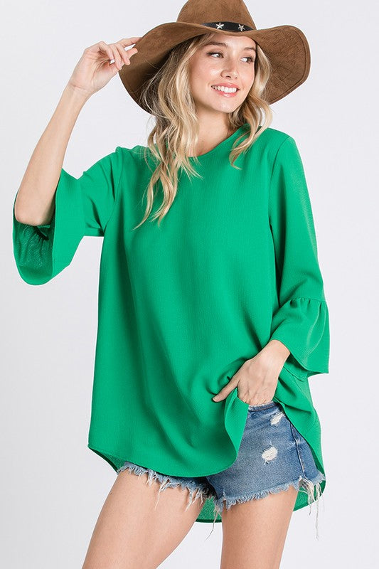 High Low Shirt with Ruffle Sleeves | Kelly Green