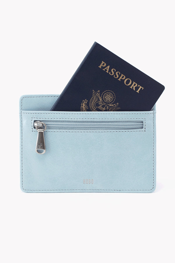 Euro Slide Leather Credit Card Wallet | Whisper Blue